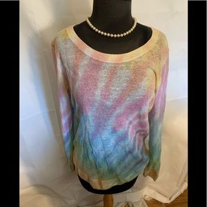 Talbots linen blend rainbow print sweater. M